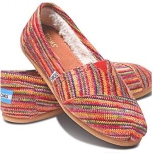 Toms rainbow striped shearling lined slide ons 10
